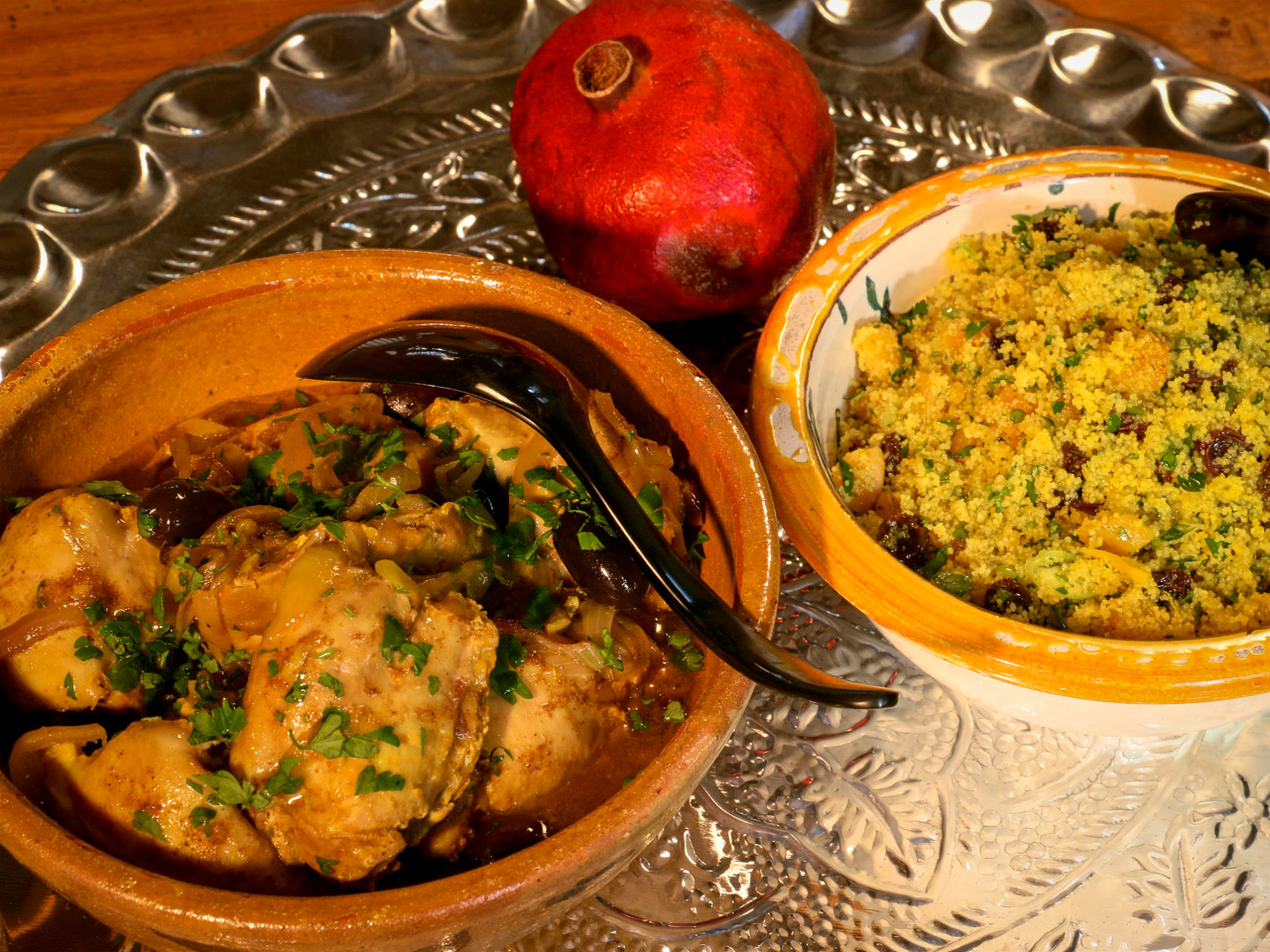 Chicken tagine with apricot couscous