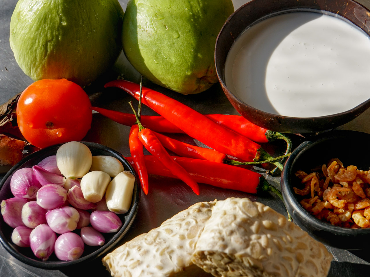 ingredients for chayote, tempeh & chilli dish